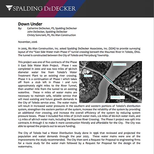 Spalding DeDecker Down Under Article
